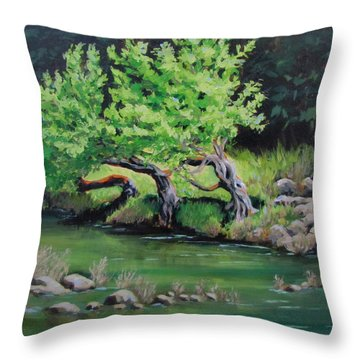 Throw Pillow featuring the painting Old Friends by Karen Ilari