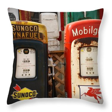 Old Fuel Pumps Throw Pillow