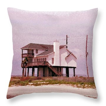 Old Galveston Throw Pillow by Tikvah's Hope