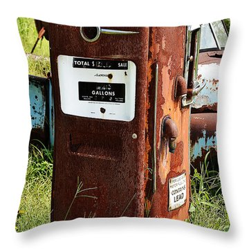 Throw Pillow featuring the photograph Old Gas Pump by Paul Mashburn