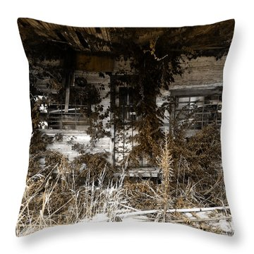 Old Gas Station Throw Pillow by Rebecca Davis