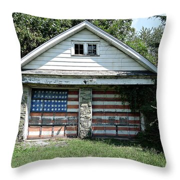 Old Glory Garage  Throw Pillow by Richard Reeve