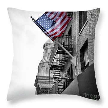 Old Glory Getting Raised Throw Pillow by John Farnan