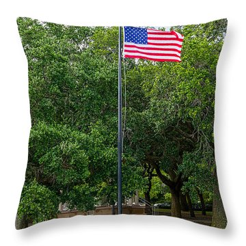 Throw Pillow featuring the photograph Old Glory High And Proud by Sennie Pierson
