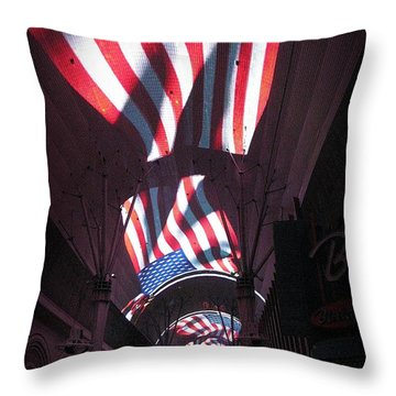 Old Glory In Vegas Throw Pillow by John Malone
