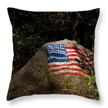 Old Glory Rocks Throw Pillow