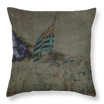 Old Glory Standoff Throw Pillow by Wes and Dotty Weber