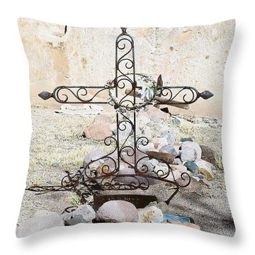 Throw Pillow featuring the photograph Old Gravestone Marker by Kerri Mortenson