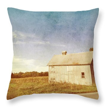 Old Gray Barn In The Country With Blue Sky Throw Pillow