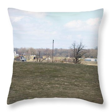 Old Gray Shed On The Hill Throw Pillow by Paulette B Wright