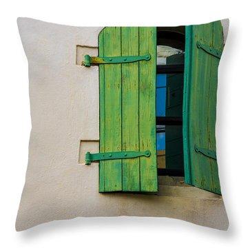 Old Green Shuttered Window Throw Pillow