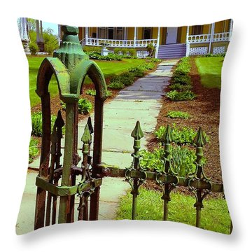 Throw Pillow featuring the photograph Old Green Wrought Iron Gate by Becky Lupe