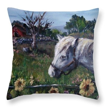 Throw Pillow featuring the painting Old Grey Mare by Megan Walsh