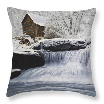 Old Grist Mill Throw Pillow by Johanna Lerwick