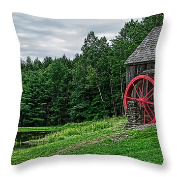Old Grist Mill Vermont Red Water Wheel Throw Pillow by Edward Fielding