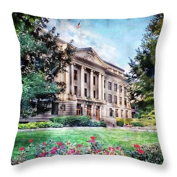 Old Guilford County Courthouse Summertime Throw Pillow