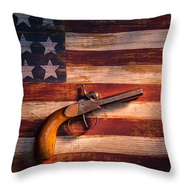 Old Gun On Folk Art Flag Throw Pillow by Garry Gay