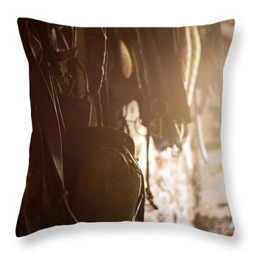 Old Harness Throw Pillow