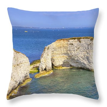 Old Harry Rocks - Purbeck Throw Pillow by Joana Kruse