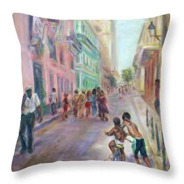 Old Havana Street Life - Sale - Large Scenic Cityscape Painting Throw Pillow