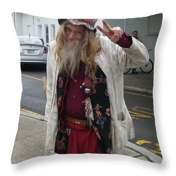 Throw Pillow featuring the photograph Old Hippie In Woodstock Ny  by Anna Ruzsan