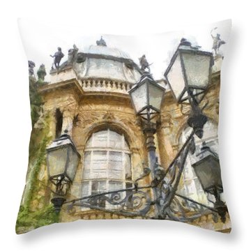 Throw Pillow featuring the painting Old Home by Georgi Dimitrov