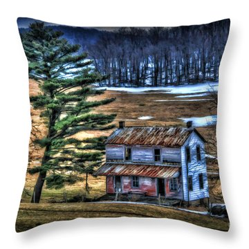 Old Home Place Beside Pine Tree Throw Pillow by Dan Friend