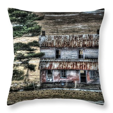 Old Home Place With Birds In Front Yard Throw Pillow by Dan Friend