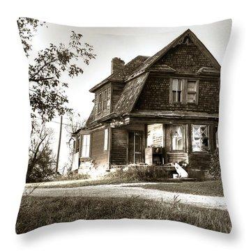 Old Homestead Sepia Throw Pillow