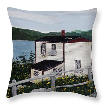Throw Pillow featuring the painting Old House - If Walls Could Talk by Barbara Griffin