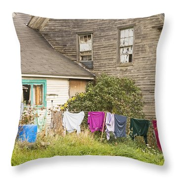 Old House With Laundry Throw Pillow
