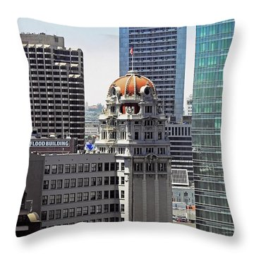 Throw Pillow featuring the photograph Old Humboldt Bank Building In San Francisco by Susan Wiedmann
