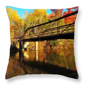 Throw Pillow featuring the photograph Historic Harvey Bridge Over Manistee River In Wexford County Michigan by Terri Gostola