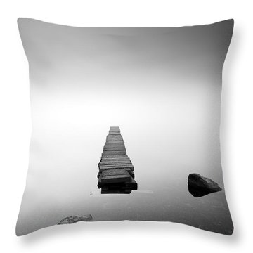 Old Jetty In The Mist Throw Pillow