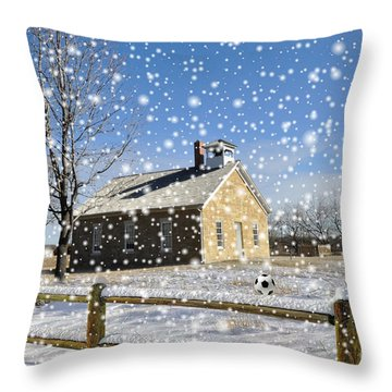 Throw Pillow featuring the photograph Old Kansas Schoolhouse by Liane Wright