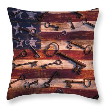 Old Keys On American Flag Throw Pillow by Garry Gay