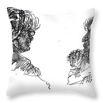 Old Ladies Talking Throw Pillow