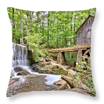 Old Lefler Grist Mill Throw Pillow