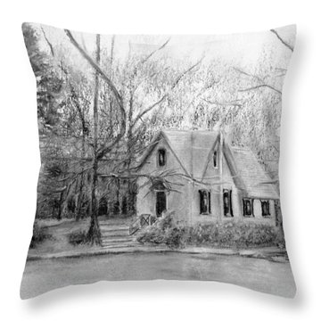 Old Library On Lake Afton - Winter Throw Pillow