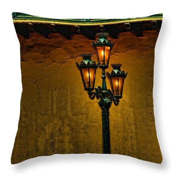 Old Lima Street Lamp Throw Pillow