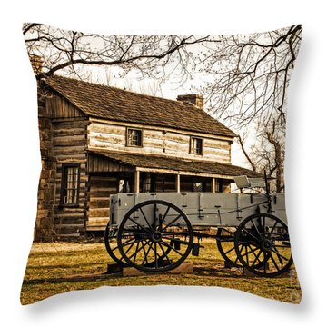 Old Log Cabin In Autumn Throw Pillow
