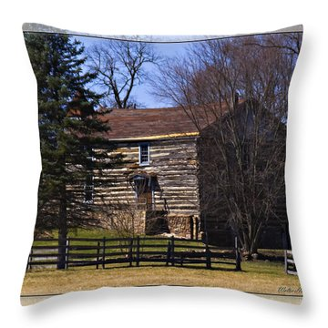 Old Log Home Throw Pillow