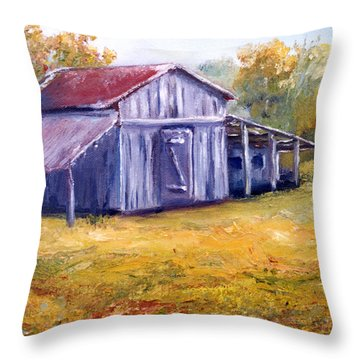 Old Louisiana Barn In Pasture Landscape Throw Pillow