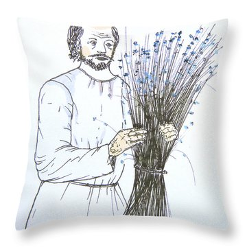 Old Man And Flax Throw Pillow