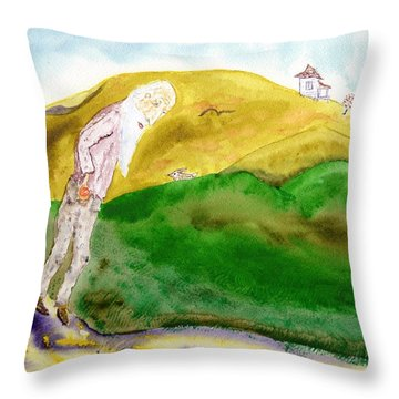 Old Man And The Oranges Throw Pillow by Jim Taylor