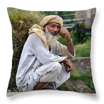 Old Man Carrying Fodder Swat Valley Kpk Pakistan Throw Pillow by Imran Ahmed