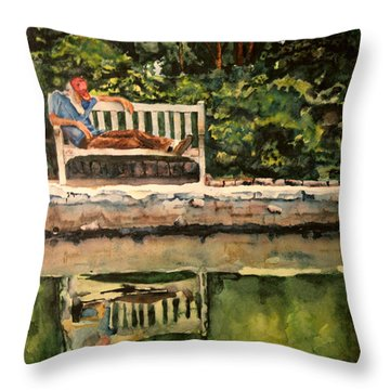 Old Man On A Bench Throw Pillow