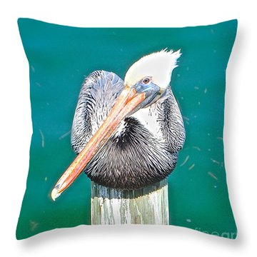 Old Man Pelican On Anna Maria Pier Throw Pillow