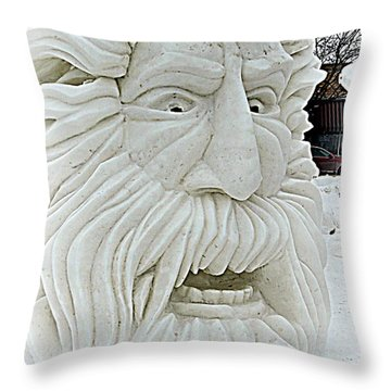 Old Man Winter Snow Sculpture Throw Pillow