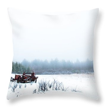 Old Manure Spreader Throw Pillow by Cheryl Baxter